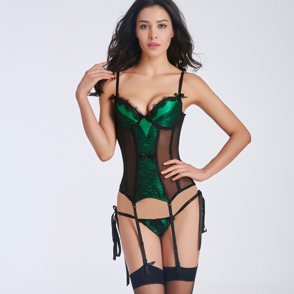 Sexy Lace Transparent Stain Overbust Corset Bustier With Removable Garters BC8501