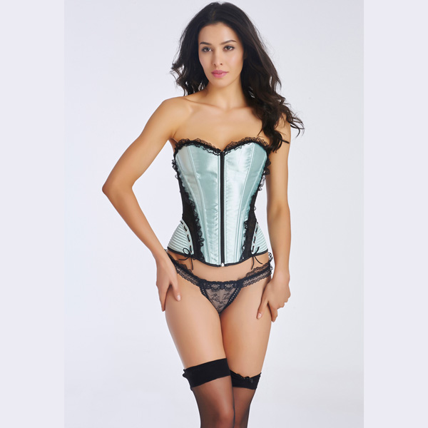 Women's Front Zipper Premium Satin Overbust Corset With Floral Lace BC8505