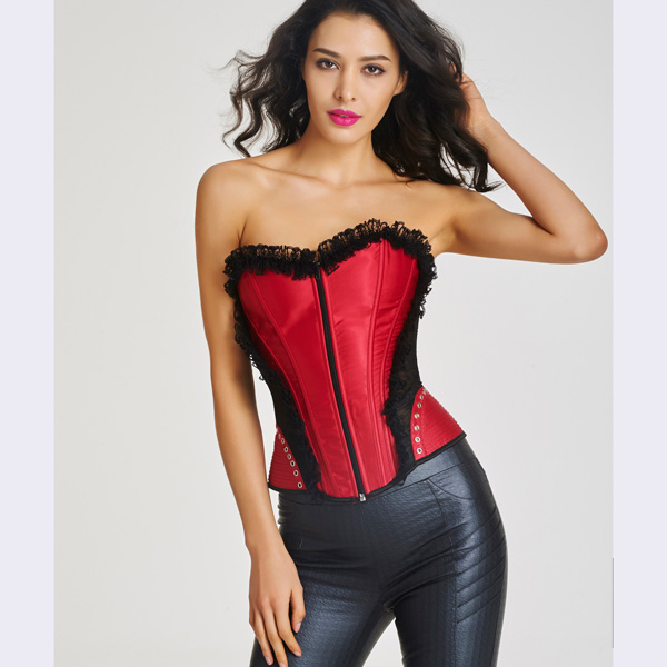 Women's Front Zipper Premium Satin Overbust Corset With Floral Lace BC8507