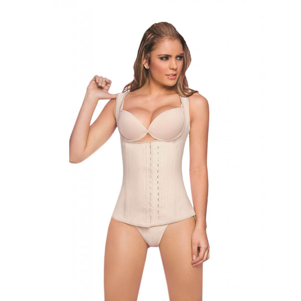 Womens 3 Hook Full Vest Latex Waist Cincher Girdle Band Beige Corsets BK8206