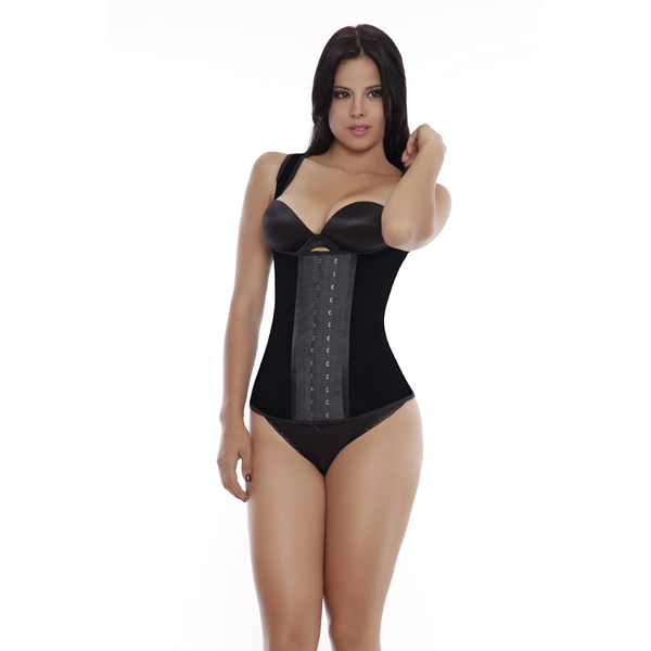 Womens 3 Hook Long Deportiva Latex Vest Body Shaper Black Waist Training Corsets BK8200