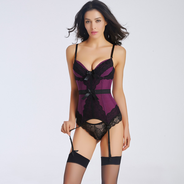 Sexy Removable Straps Lace Overlay Corset with Removable Garters Panty BC8521