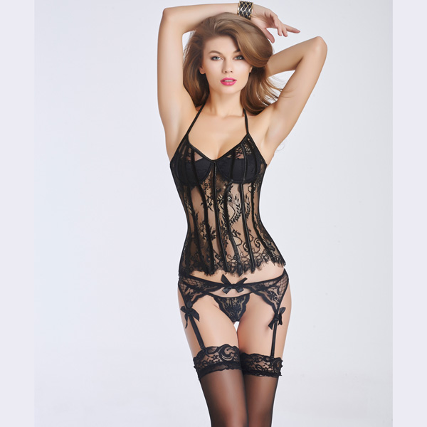 Sexy Lace Transparent Corset Bustier With Back Hook Eye Closure BC8523