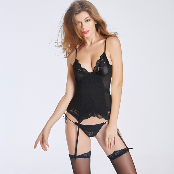 Lace Back Hook Eye Closure Corset With Removable Garters Panty BC8524