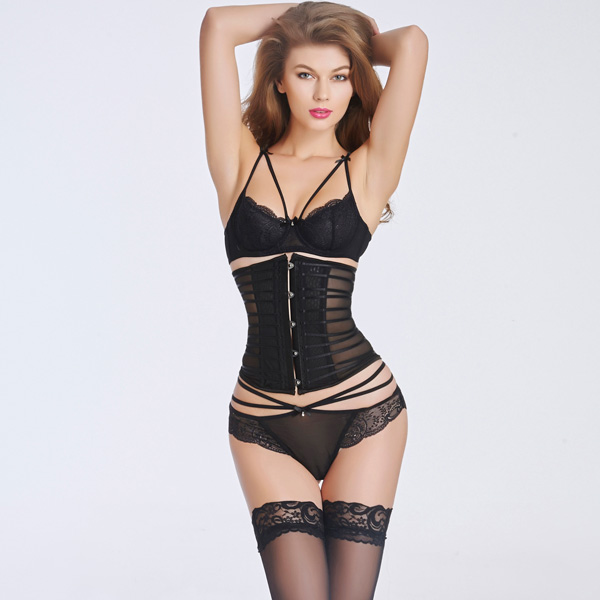 Sexy Transparent Stain Underbust Corset Bustier With Front Steel Busk BC8525