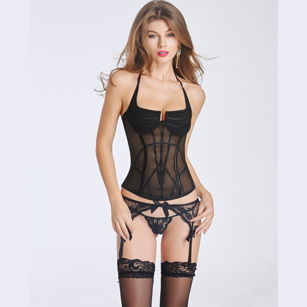 Women's Sexy Transparent Corset Bustier With Back Hook Eye Closure BC8526
