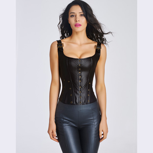 Women's Sexy Faux Leather Bustier Corset With Lace Up Back BC8531