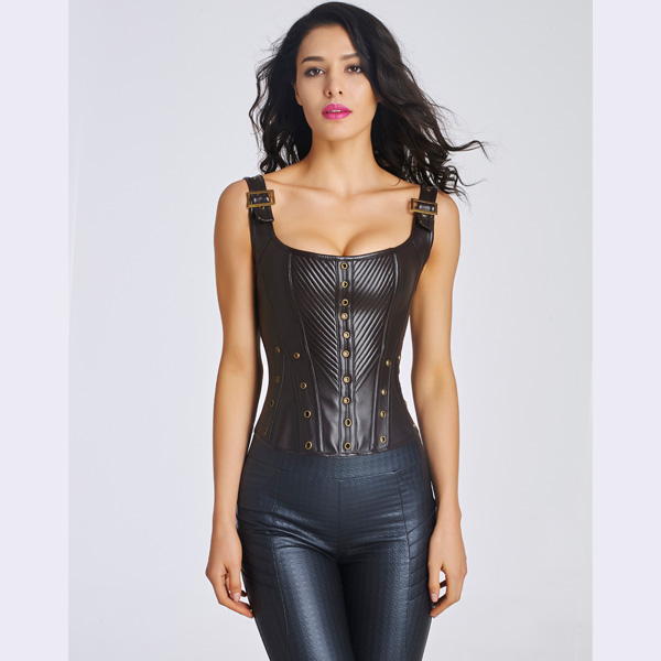 Women's Sexy Faux Leather Bustier Corset With Lace Up Back BC8532