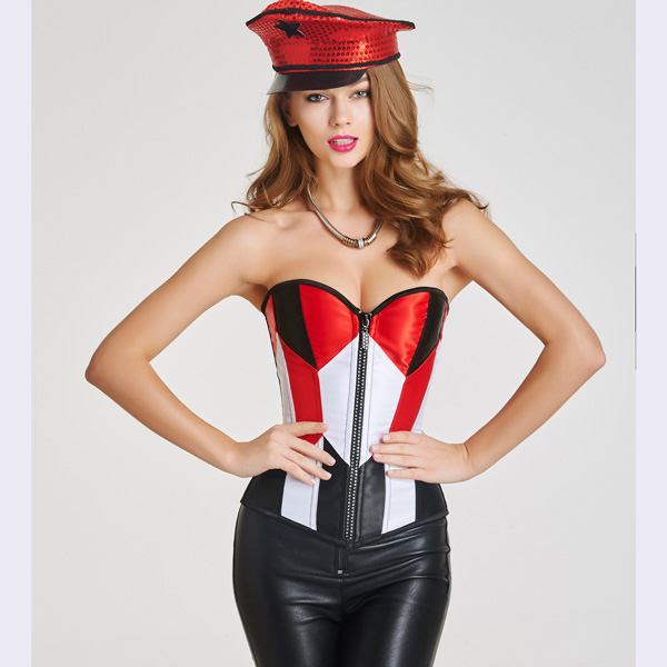 Beauty Strapless Front Zipper Overbust Corsets With Lace Up Back BC8535
