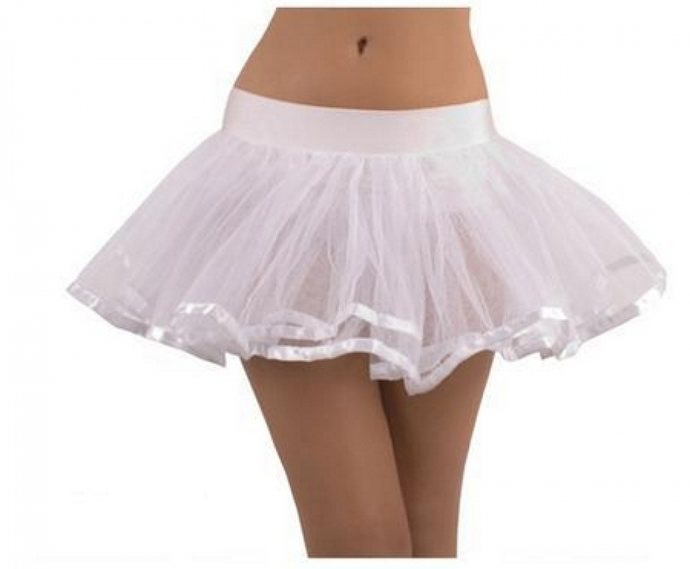 White Doube Layer Costume Tutu Petticoat with Satin Trim BC1785
