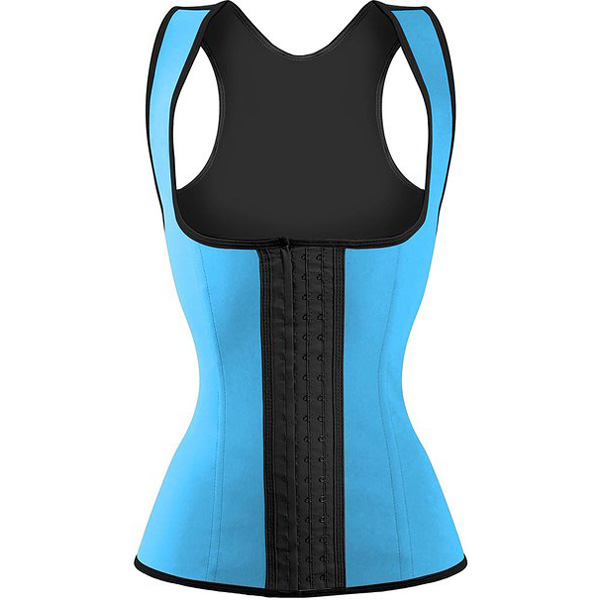 3 Hook Workout Faja Shapeware Latex Rubber Waist Training Bustier Corset Light Blue BK9113