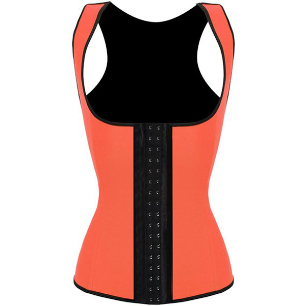 3 Hook Workout Faja Shapeware Latex Rubber Waist Training Bustier Corset Orange BK9114