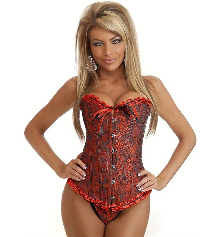 Red Embroidered Geisha Burlesque Sexy Corsets BC1220