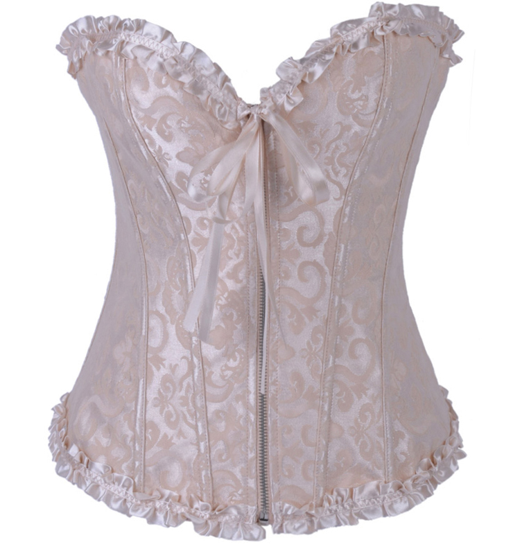 Brocade Corset Ivory With Zipper Front BC1503