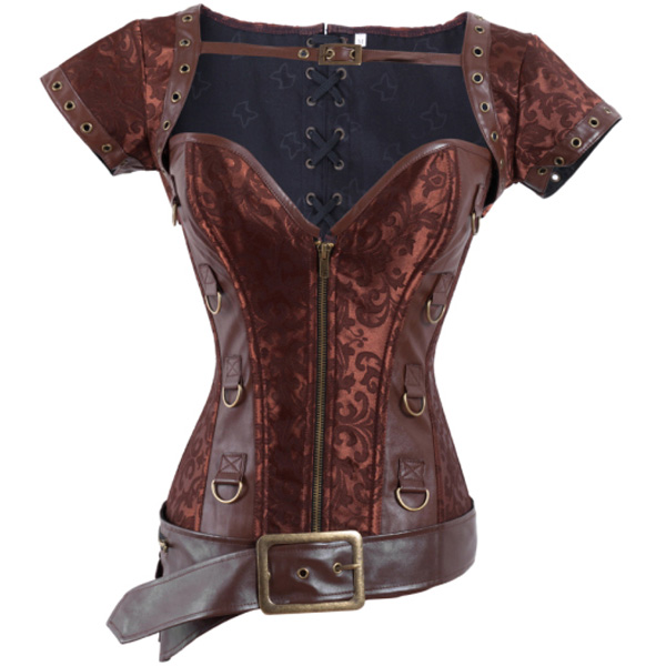 Brocade & Faux Leather Shrug & Belt Corset BC1168