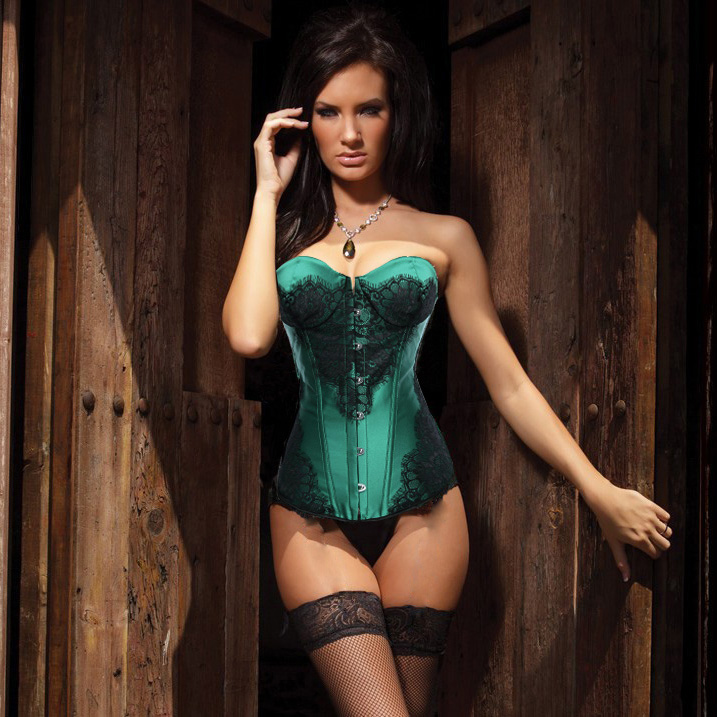 Classical Lace Overlay Corset Green BC1445