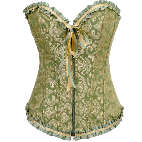 Embroidered Front Zipper Corset BC1502