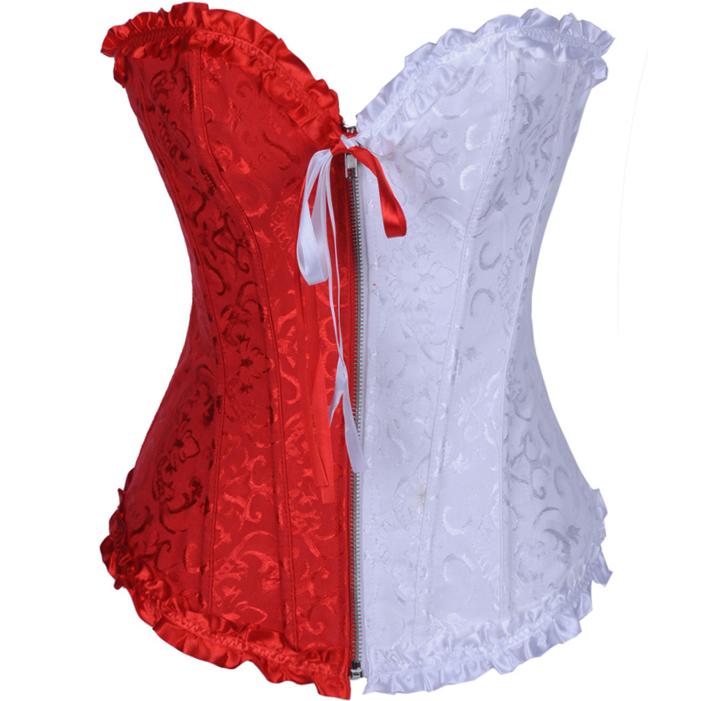 Floral Brocade red & white Corset BC1504