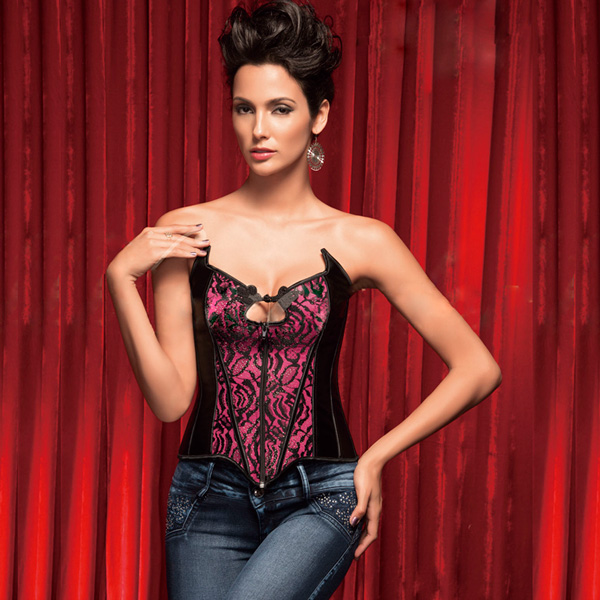Flower Velvet Corset with rhinestone accents BC1370