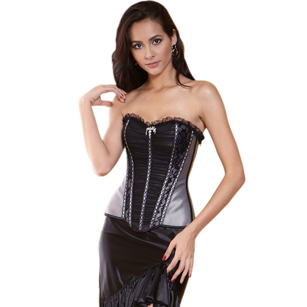 Gray Pleated Corset BC1180