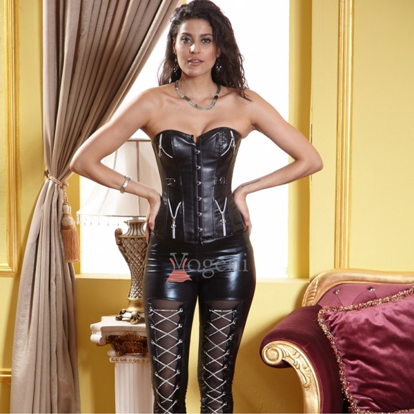 Leather Corset With Zippers & Buckles BC1856