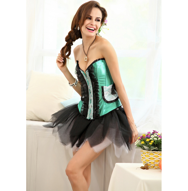 Pleated Lace Trimming Corset Green BC1307