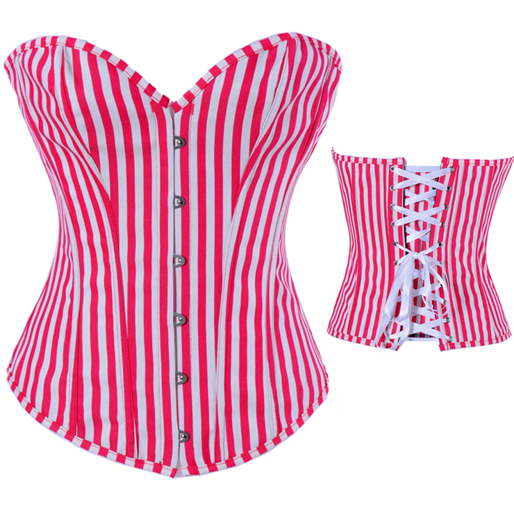 Red and white streak corset BC1322