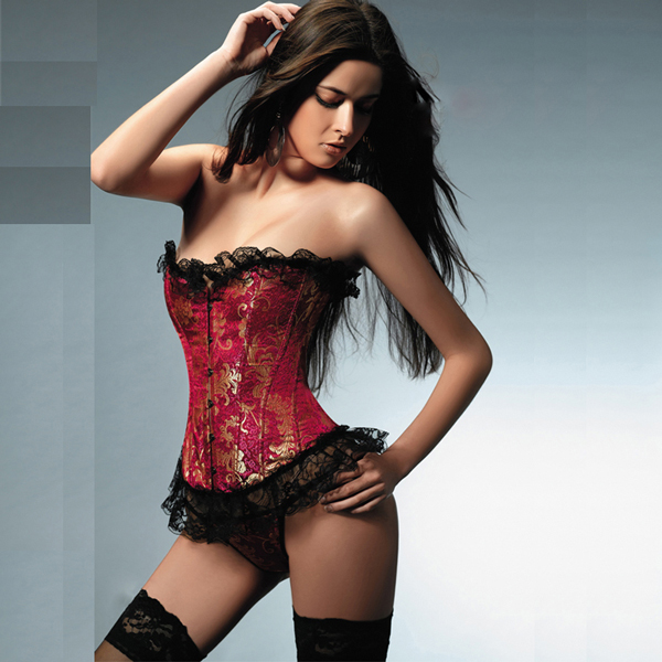 Strapless Ruffled Brocade Corset BC1609