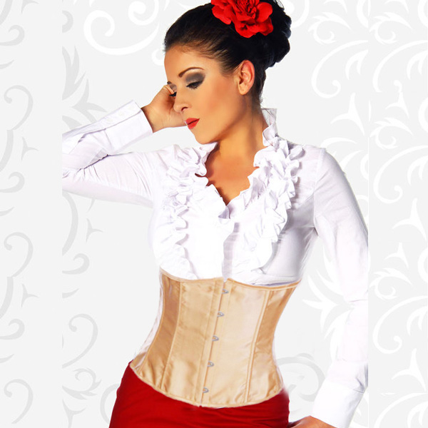 Brown satin underbust corset BC1805
